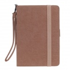 Anti Falling Around The Edge Protective Leather Case Auto Sleep for iPad Mini w/ Hand Rope - Brown