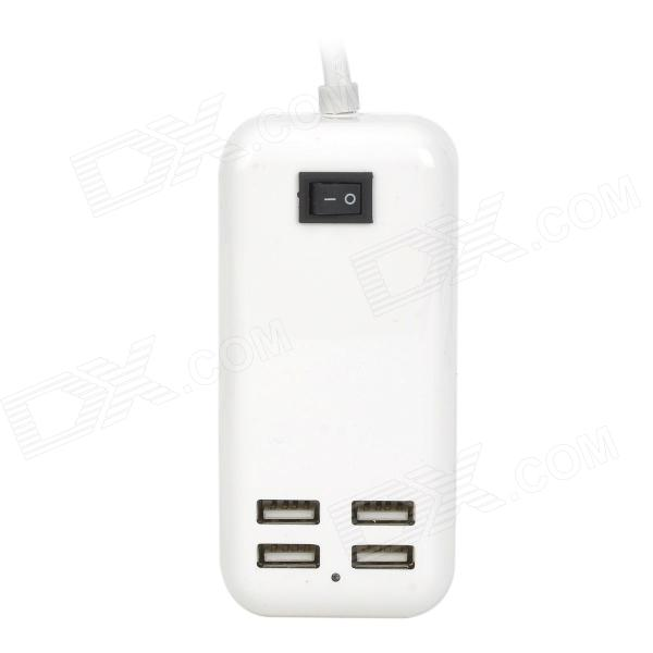 15W 3A EU Plug USB 4-Port Wired Charger w/ Switch for Cellphones - White (AC 100~240V) vina ups 001 intelligent 4 port usb 2 0 fast charger