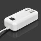 15W 3A EU Plug USB 4-Port Wired Charger w/ Switch for Cellphones - White (AC 100~240V)