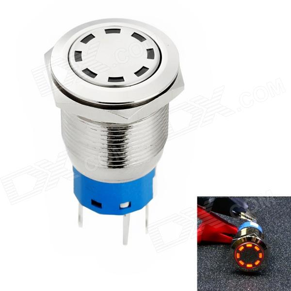 Jtron Automobile Button Switch OFF-(ON) / Self-locking Red Light - Silver (12V)