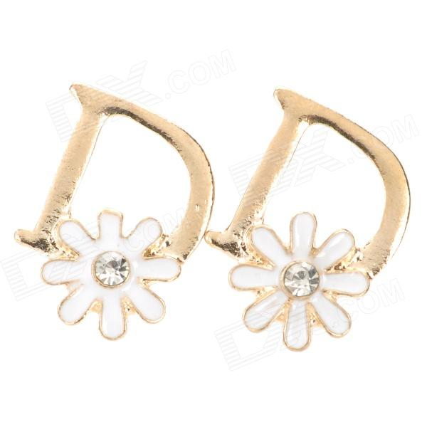Stylish D Shaped Flower Detail Gold Plated Earrings - White + Golden (2 PCS)