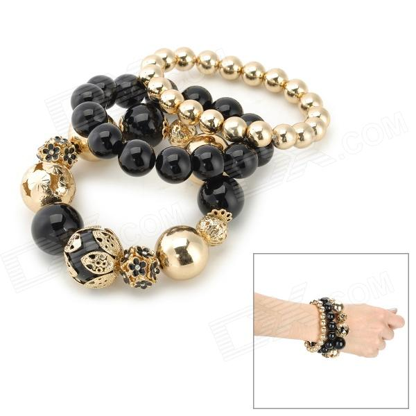 BR-1512 Stylish Zinc Alloy Hollowed Beads Bracelet - Black + Golden (3 PCS) three dimensional adjustable zinc alloy connector for gopro 3 3 2 golden