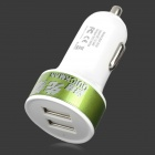 BSF-07A Universal Convenient 5V 2.1A / 1A Dual USB Output Car Charger - White + Green (12~24V)