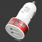 BSF-07A Universal Convenient 5V 2.1A / 1A Dual USB Output Car Charger - White + Red (12~24V)