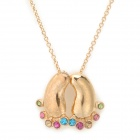 Fashionable Foot Style Gold Plated Crystal Inlaid Necklace - Golden