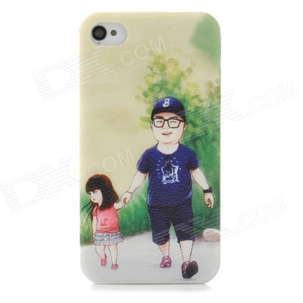 BB-2 Cute Father and Daughter Style Protective ABS Back Case for Iphone 4 / 4s - Green + Blue