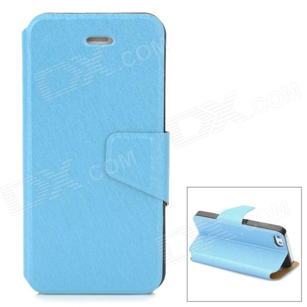 Stylish Thin Flip-open PU Leather Case w/ Holder + Card Slot for Iphone 5S / 5 - Sky Blue stylish flip open pu tpu case w card slots for nokia 625 blue