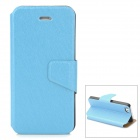 Stylish Thin Flip-open PU Leather Case w/ Holder + Card Slot for Iphone 5S / 5 - Sky Blue