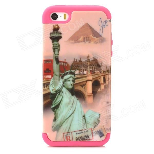 A-335 Statue of Liberty Style Protective PC + Silicone Case for Iphone 5 / 5s - Pink + Deep Pink statue of liberty pattern protective plastic case for iphone 4 4s blue white