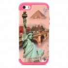 A-335 Statue of Liberty Style Protective PC + Silicone Case for Iphone 5 / 5s - Pink + Deep Pink