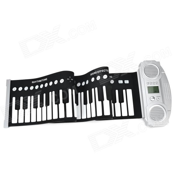61-Key Dual-Speaker Roll Up Folding Electronic Piano - Silver (4 x AAA)