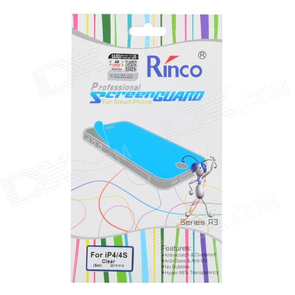Rinco Protective Clear PET Front + Back Screen Guard Films Set for Iphone 4 / 4s стоимость