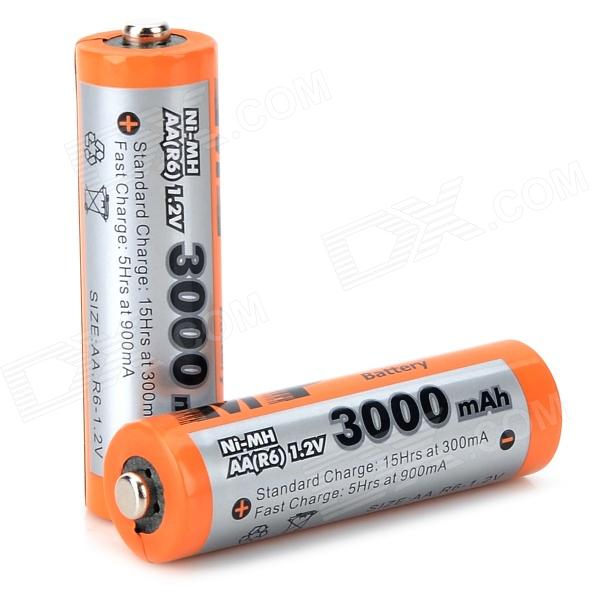 MP Rechargeable 3000mAh Ni-MH AA Battery - Orange + Grey (2 PCS)