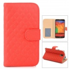 Stylish Rhombus Bump Flip-open PU Leather Case w/ Holder + Card Slot for Samsung Galaxy Note 3 N9000