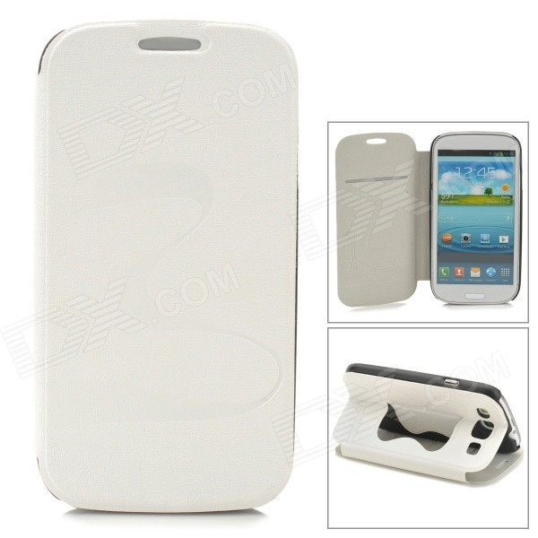 Stylish Flip-open PU + PC Case w/ Butterfly Holder for Samsung i9300 - White butterfly bling diamond case