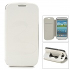 Stylish Flip-open PU + PC Case w/ Butterfly Holder for Samsung i9300 - White