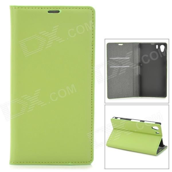 Protective Leather Case w/ Card Slots / Stand for Sony Xperia Z1 / L39H - Green protective pu leather case w card holder slots for sony xperia z1 l39h pink
