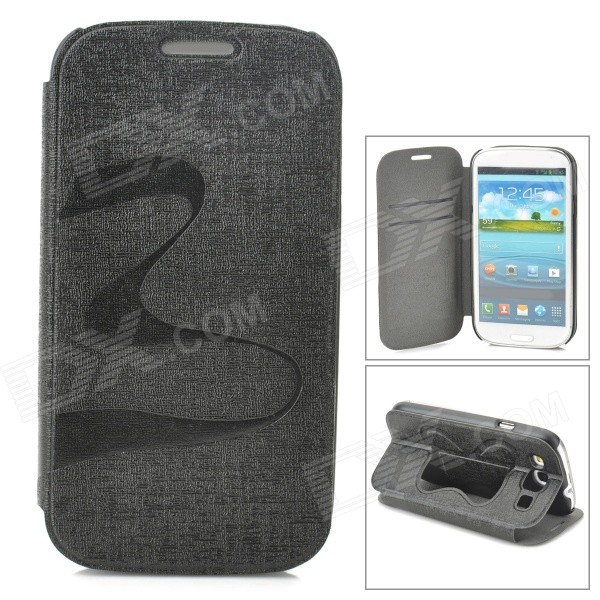Stylish Flip-open PU + PC Case w/ Butterfly Holder for Samsung i9300 - Black
