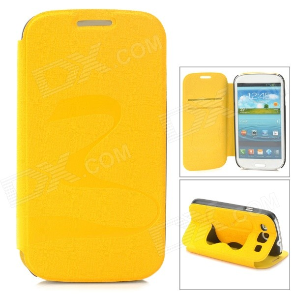 Stylish Flip-open PU + PC Case w/ Butterfly Holder for Samsung i9300 - Yellow butterfly bling diamond case