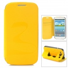 Stylish Flip-open PU + PC Case w/ Butterfly Holder for Samsung i9300 - Yellow