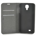 Stylish Simple Flip-open Sheep Skin Case w/ Holder + Card Slot for Samsung Galaxy S4 i9500 - Black