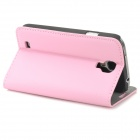 Stylish Simple Flip-open Sheep Skin Case w/ Holder + Card Slot for Samsung Galaxy S4 i9500 - Pink
