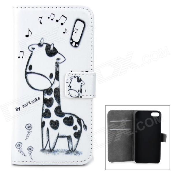 Cute Giraffe Pattern PU Flip-Open Case for Iphone 5 / 5s - White + Black