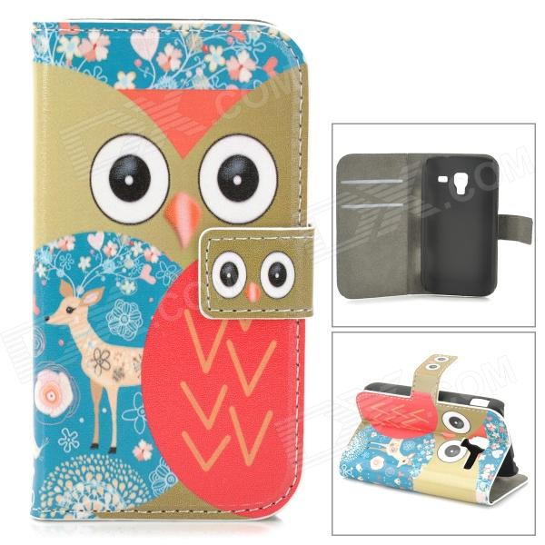Cute Cartoon Awl Pattern Flip-open PU Leather Case w/ Holder + Card Slot for Samsung Galaxy Ace 2 ikki sweet cartoon pattern flip open pu case w holder card slot for samsung galaxy s3 mini i8190