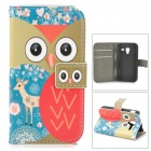 Cute Cartoon Awl Pattern Flip-open PU Leather Case w/ Holder + Card Slot for Samsung Galaxy Ace 2