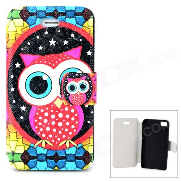 Cute Owl Pattern PU Leather + ABS Case for Iphone 4 / 4s - Multicolored