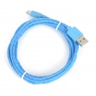 Micro 5-Pin Male to USB Male Nylon Charging Data Cable - Blue + Pink (2m)