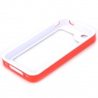 S-What Detachable PC + Silicone Bumper Frame Case for Iphone 4 / 4s - White + Red