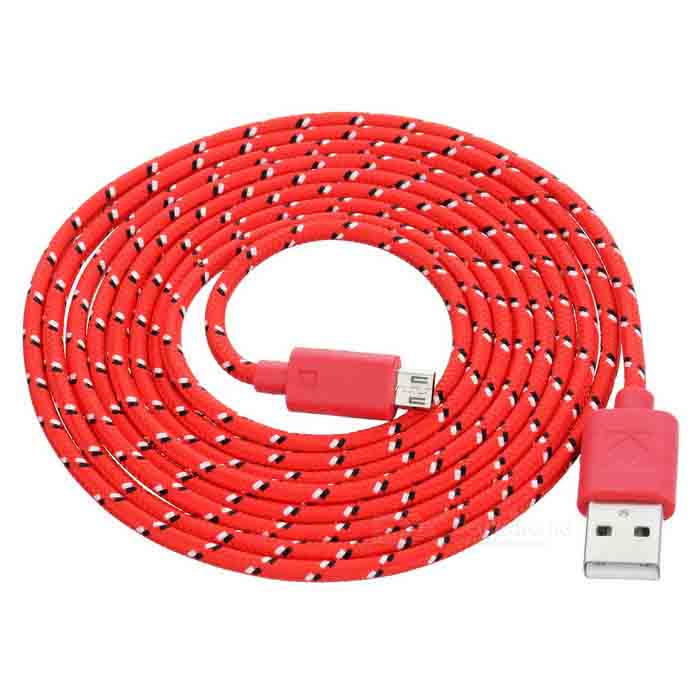 Micro 5-Pin Male to USB Male Nylon Charging Data Cable - Red + Black (2m) usb male to micro usb male data charging nylon cable black 2m