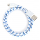 Micro USB Male to USB Male Nylon Data Cable - White + Blue (100cm)