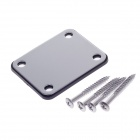 Electric Guitar Neck Plate w/ Screw Mat - Silver