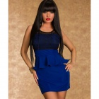 LC2914-4 Terrific Paisley Lace Peplum Dress - Blue (M)