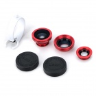 LX-C301 3-in-1 Wide Angle + Fish Eye + Macro Lens Ring Clip for Iphone / Samsung / HTC - Red