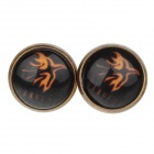 Firebird Pattern Ancient Palace Bronze Ear Studs - Yellow + Black (Pair)