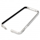 Stylish Rhinestone Aluminum Alloy Bumper Frame Case for Iphone 5 / 5s - White Silver