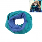 W0122 Spell Double Color Stripe Knitting Wool Scarf - Green + Blue
