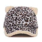 JYMZ-A59 Cute Printed Plush Ear Duck Tongue Baseball Cap - Black Leopard