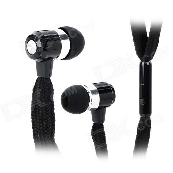 Universal Shoelace Style Fashion In-Ear Earphones w/ Microphone for Iphone 4 / 4s - Black nornby n high fidelity
