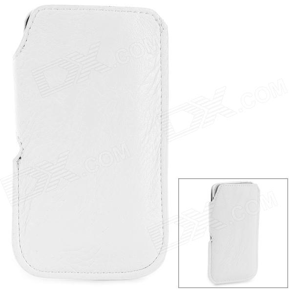 Lychee Pattern Protective PU Case for Iphone 5 / 5s / 5c - White