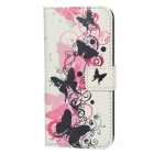 a-33 Butterfly Pattern Protective PU Leather Case w/ Stand for Iphone 5 / 5s - White + Multicolored