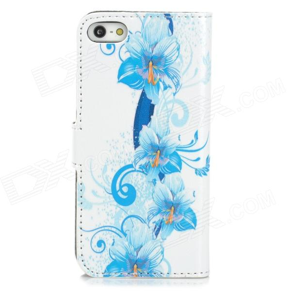 Flowers Pattern PU Leather Flip-Open Case for Iphone 5 / 5s - White + Sky Blue kinston flowers butterfly pattern pu plastic case w stand for iphone 6 plus multicolored
