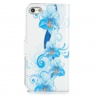 Flowers Pattern PU Leather Flip-Open Case for Iphone 5 / 5s - White + Sky Blue