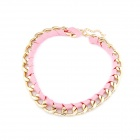 Weaving Rope And Metallic Chain Women's Necklace - Pink + Golden