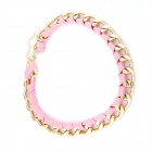 Weven Kabel En Metallic Chain Women's Necklace - Roze + Golden