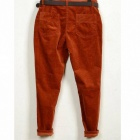 Women's Slim Corduroy Haroun Pants w/ Belt - Dark Orange (L)
