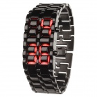 SUOXINI 833 8-LED Red Light Digit Stainless Steel Bracelet Wrist Watch